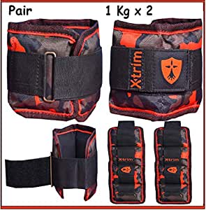 Xtrim Dura-Adjustable Ankle/Wrist Weights (Set of 2) Iron ore Filling-Comfort Padded -Walking-Jogging-Aerobics-Toning-Cardio-Glutes-Rehabilitation (2 Ankle/Wrist Weights - 1.0 Kg Each)