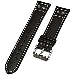 Swiss Military Brown Leather Watch Strap With White Stitching 22 mm New 8672