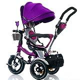 La patrouille de patte de tricycle des enfants 4-en-1, enfants multifonctionnels de bicyclette de chariot à pousser pour le vélo de roue de bébé 3 avec l'auvent anti-UV ( taille : Violet )