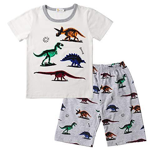 Dinosaurier-nachtwäsche (Little Hand Schlafanzug Jungen Dinosaurier Bagger Roboter Kinder Sommer Zweiteiliger Baumwolle Kurz Nachtwäsche, Dinosaur-1, 116 (HerstellerGröße: 130))