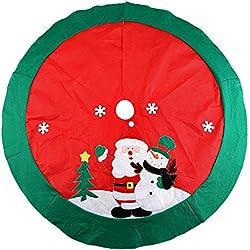 Árbol de Navidad falda 100cm Mini árbol de Navidad falda de decoración con diseño de Papá Noel y nieve
