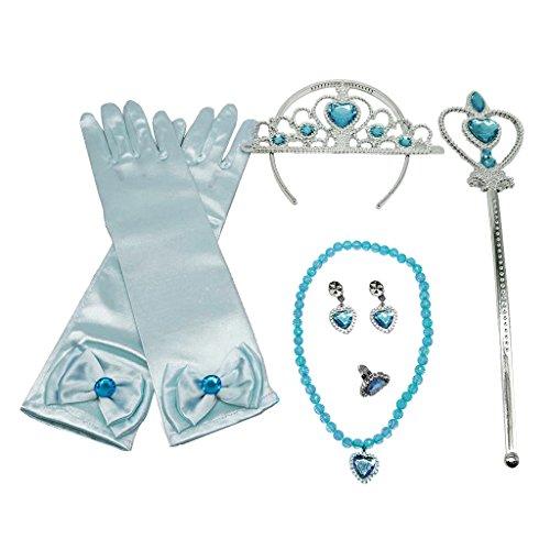 Prettyia Prinzessin Belle Kleid Kostüm Zubehör Handschuh Zauberstab Tiara Schmuck Set - Blau