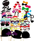 58PCS Colourful Props On A Stick Moustache Photo Booth Party Fun Wedding Favour Christmas Birthday Favour
