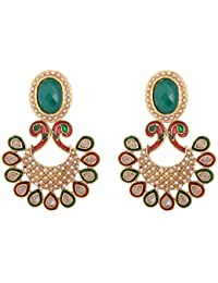 Green stone Kundan pearl earrings