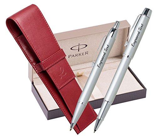 Personalisieren Sie mein Geschenk Parker Set - Kugelschreiber & Rollerball IM - Silber CT + Ledertasche Rot + Luxus Geschenkbox (Schieren Leder)