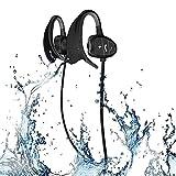 Nanle Ipx8 Waterproof CSR Auriculares Bluetooth Cancelación de Ruido Auriculares Deportivos inalámbricos con Gancho para los oídos Auriculares Resistentes al Sudor con micrófono (Color : Negro)