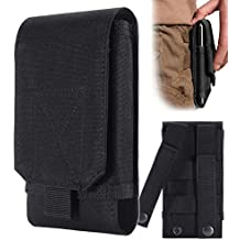Urvoix, fondina porta cellulare, colore nero, da esercito, per cintura, taglia L