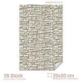 GRAZDesign Bad Folie Fliesen Steinmauer - Fliesendekor Stein Mauer Optik - Fliesenaufkleber Küche & Bad Hellbraun / 20x20cm (BxH) / 767080_20x20_90