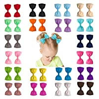"Ruyaa 20 Pairs 3"" Hair Bows for Baby Girls Toddlers Hair Clips for Pigtails (40pcs)"