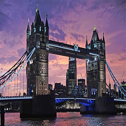 Qqasd Benutzerdefinierte 3D Fototapete Wandgemälde Tower Bridge Nachtansicht Europäische Stadt Landschaft 3D Große Wandbilder Tapete Wohnzimmer-250x175CM - Bridge-foto-bearbeiten