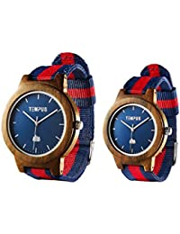TEMPUS - Willoughby - His And Hers Watches Couple Matching Wood Watch Minimalist Pair Wooden Wristwatch Striped...