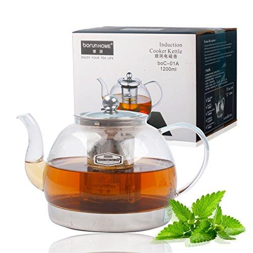résistant à la chaleur en verre transparent Infuseur Théière Induction cuisinière bouilloire à thé 1200ml, 1200ML (Teekanne Herd)