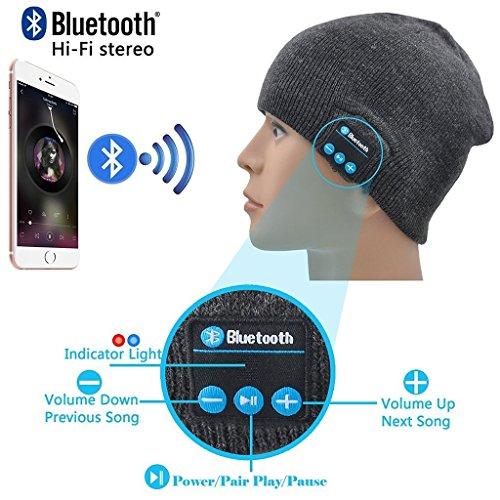 I-Sonite (Dunkelgrau Unisex One Size Winter-Strickmütze mit Built-in Wireless Stereo-Lautsprecher-Kopfhörer für Samsung Ativ Smart PC 500