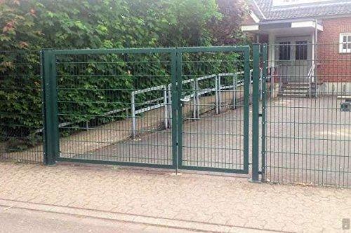 Einfahrtstor 2-flügelig asymmetrisch Grün Tor Doppeltor Gartentor 300cm x 180cm