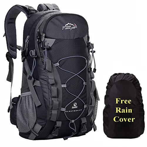 A AM SeaBlue Zaino da Trekking 40L Viaggio Zaini Hiking Backpack Leggero Zaino per Escursionismo Campeggio Alpinismo,Collegio Scuola Uomo e Donna con Impermeabile Parapioggia,Nero