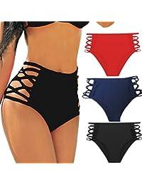 a3e2825146370 FITTOO Women's Sexy High Waisted Bikini Bottoms Strappy Cutouts Briefs with  Tummy Control Design