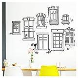 Grandora W5523 Wandtattoo Fenster XXL I braun (BxH) 140 x 100 cm I Fassade Küche Esszimmer Aufkleber selbstklebend Wandsticker Wandaufkleber