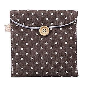 CINDY LOVER Cute Polka Dot Cotton Sanitary Napkins Bag Menstrual Cup Pouch Nursing Pad Holder Bag Button Bag