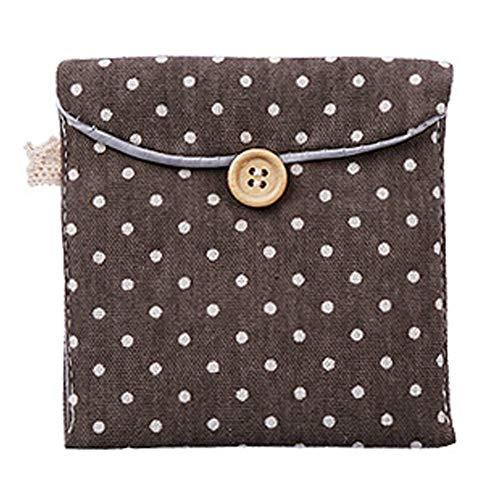 OPSLEA Nette Polka-Punkt-Baumwollsanitärer Servietten-Beutel-Menstruationsschalen-Beutel-Stilleinlagen-Halter-Taschen-Knopf-Tasche