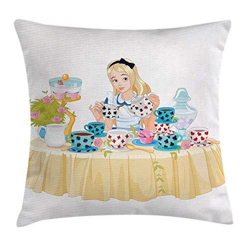 Kinhevao Alice nel Paese delle Meraviglie Throw Pillow, Alice Versa la Tazza di tè con Cupcakes Fiori in Wonderland Fantasy, Cuscino Quadrato Accento Decorativo