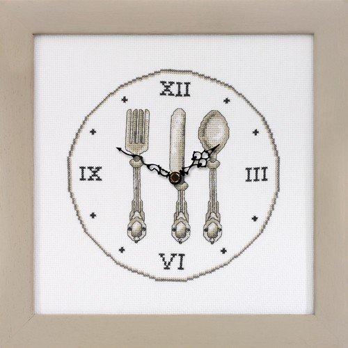 El mercadillo en casa Reloj Cubiertos para Bordar A Punto DE Cruz