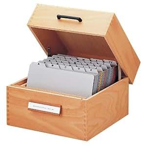HAN 505; Holz-Karteikasten DIN A5 quer; für 900 Karten; Metallboden/Stütze; Naturholz