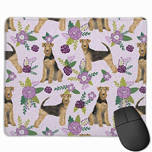 Airedale Terrier Dog Breed Pet Quilt Floral Dog_18016 Mouse pad Custom Gaming Mousepad Nonslip Rubber Backing 9.8
