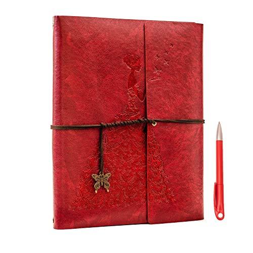 Yaohu quaderno e penna, vintage taccuino in ecopelle retro diario di viaggio pagine bianche per agenda scuola regalo per natale / nuovo anno / valentine / festa compleanno / nozze, farfalla rosso l