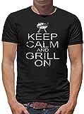 Keep Calm and Grill on T-Shirt Herren XXXL Schwarz