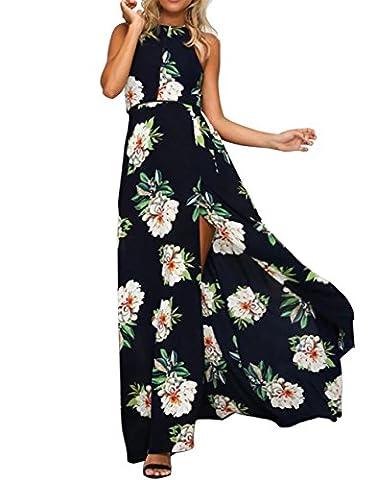 Mode Femmes Imprimé Floral Boho Lâché Plage Party Cocktail Robe (EU 38, Sans manches-Noir)