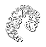 Lumanuby 1 X Women Girls Fashion Open Ring Silver Color Ring Hollow Heart-Shaped Vines Finger Ring Valentine's Day Party Xmas Gift Adjustable Size