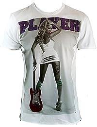 Amplified Herren T-Shirt Weiss Sexy Tattoo Guitar Girl Hot Pin Up Amanda Player Strass Rock Star Vintage Club ViP Rockstar Design