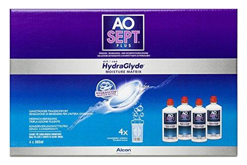 Aosept Plus mit Hydraglyde, Kontaklinsen-Pflegemittel Systempack, 4 x 360 ml