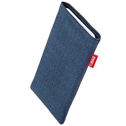 fitBAG Jive Blau Handytasche Tasche aus Textil-Stoff mit Microfaserinnenfutter für Switel Trophy S4530D | Hülle mit Reinigungsfunktion | Made in Germany