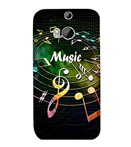 printtech Music notes Back Case Cover for HTC One M8::HTC M8