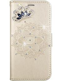 46178b2d1de9c0 Homikon PU Cuir Coque Mandala 3D Brillante Paillette Strass Diamant  Couronne Étui de Protection Porte-