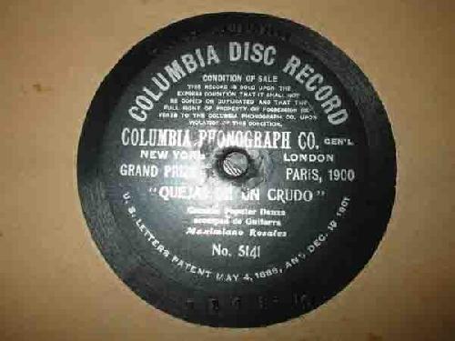 Antiguo Disco Pizarra - Old Slate Disc : QUEJAS DE UN CRUDO. Cancion Popular Danza acompado de guitarra MAXIMIANO ROSALES