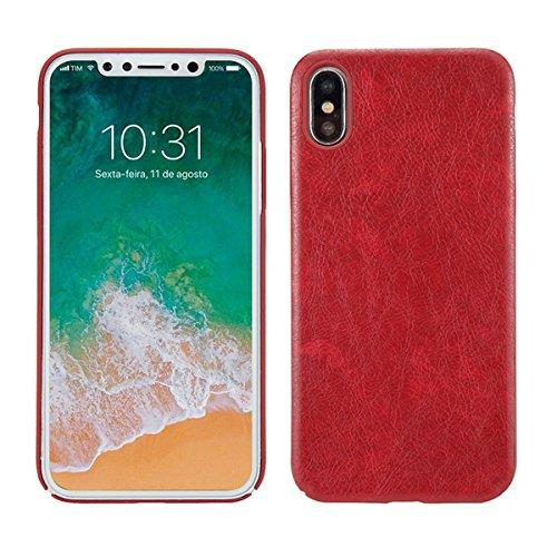Case für iPhone X, Thin Fit Hülle PU Leder Tasche Schutzhülle mit Soft Feel Coating für für iPhone X, Braun Rot