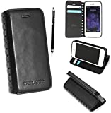 APPLE IPHONE 4 4S VARIOUS PU LEATHER MAGNETIC FLIP CASE COVER POUCH + STYLUS+SCREEN GUARD (Cutting Edge Black Book)