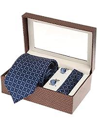 Sir Michele Designer Blue Micro Silk Tie, Pocketsquare and Cufflink Set