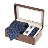 #7: Sir Michele Designer Blue Micro Silk Tie, Pocketsquare and Cufflink Set