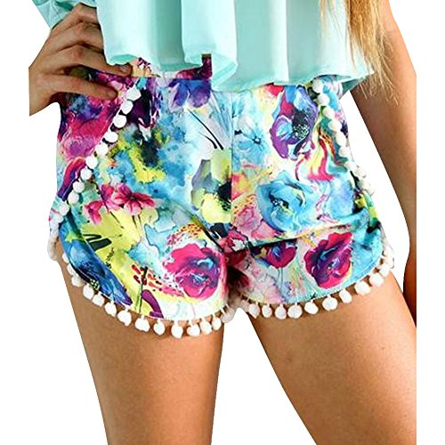 Pinkyee Damen Short Small Colorful Pattern Color