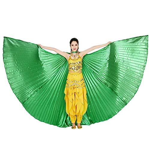 Kostüm Grüne Bauchtänzerin - Chejarity Bauchtänzerin Isis Flügel Einfarbig Orientalischen Tanz Dance Fairy Schmetterlings Wings Multi Color Halloween Cosplay Cosplay Kostüm 360 Grad Bühnenauftritte Zubehör (142CM, Grün)
