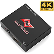 ELUTENG 4K HDMI Splitter 1 Entrada 2 Salida HDMI1.4 Switcher Adaptador para PC Computer / Laptop , Android TV Box , PS3 / PS4 / Xbox, DVD Player HDTV Splitter