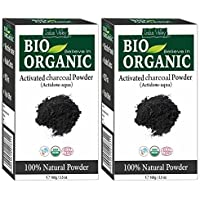 INDUS VALLEY Activated Charcoal Powder for Face Mask, Glowing, Detoxifies, Helps with Digestion Set of 2 Packet (100g*2…