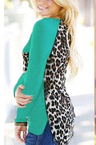 Frauen Ist Sommer Leopard Patchwork - Chiffon Langarm - T - Shirt Green