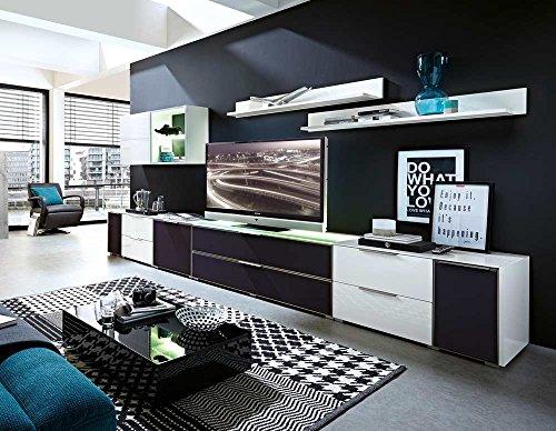 8-tlg Wohnwand in Hochglanz weiß/grau mit Akustik-Fächern und LED-Beleuchtung, Gesamtmaß B/H/T ca. 383/170/51 cm