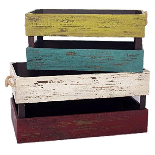 Indhouse Plat – Set de deux boîtes Vintage en bois vieilli