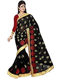 Soru Fashion Chiffon Saree With Blouse Piece (3008_Black_Free Size)
