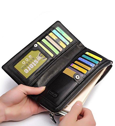 FEEHAN Große Kapazität Luxus Wax männlich-echtes Leder-Geldbörse mit Reißverschluss-Tasche (hochgradigem-Paket) 195*95*20MM darkschwarz